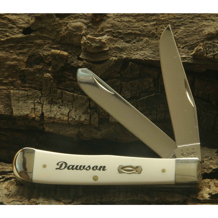 Case White Synthetic Handle Trapper with Ichthus Shield-Engravable